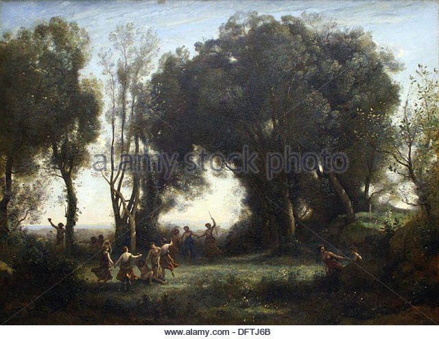 Camille Corot - a morning, dancing nymphs - 1850 - Orsay Museum - Paris - Stock-Bilder