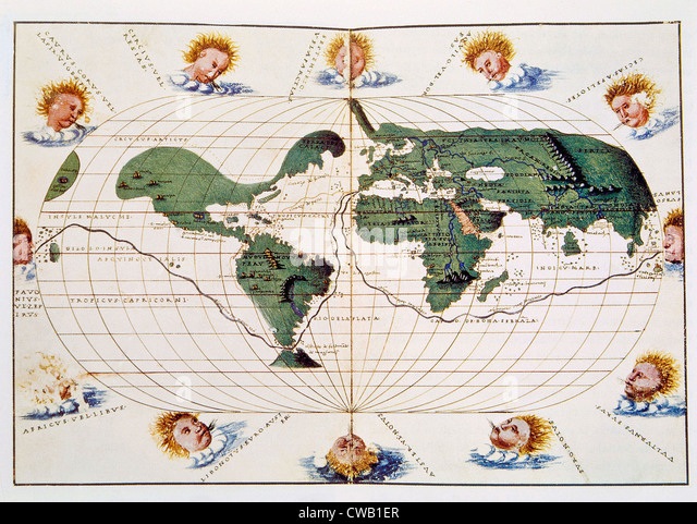 Map of Ferdinand Magellan's 1519-1521 voyage, published in 1536 - Stock Image
