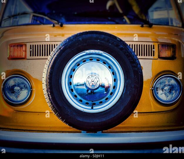 VW colorful camper van - Stock Image
