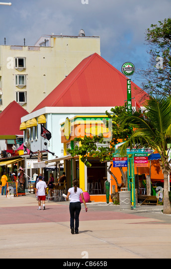 Colorful shops and stores on Front Street in Philipsburg, St Maarten - Stock Image