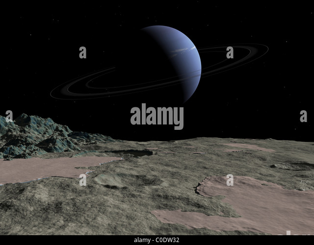 Illustration of the gas giant Neptune as seen from the surface of its moon Triton. - Stock-Bilder