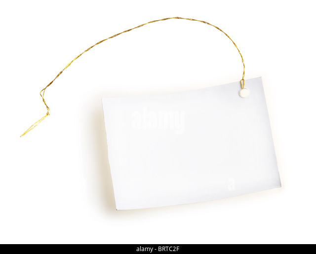 Light label with gold thread on a white background - Stock Image