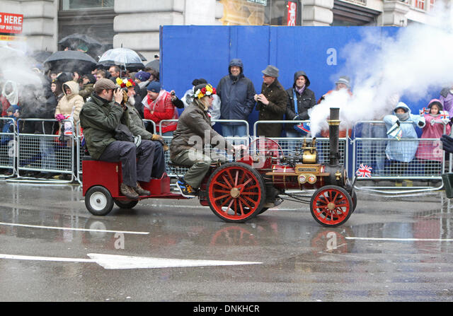 London,UK,1st January 2014,A miniature Steam traction engine at the London's New Year's Day Parade 2014 - Stock Image