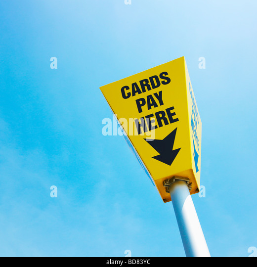 Credit Card Payment Sign and Blue Sky. - Stock Image