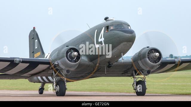 C-47 Dakota taxiing At The Imperial War Museum American Air Show - Stock Image