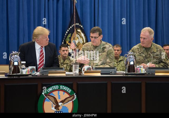 President Donald Trump discusses current military operations with General Joseph Votel, commander of US Central - Stock Image