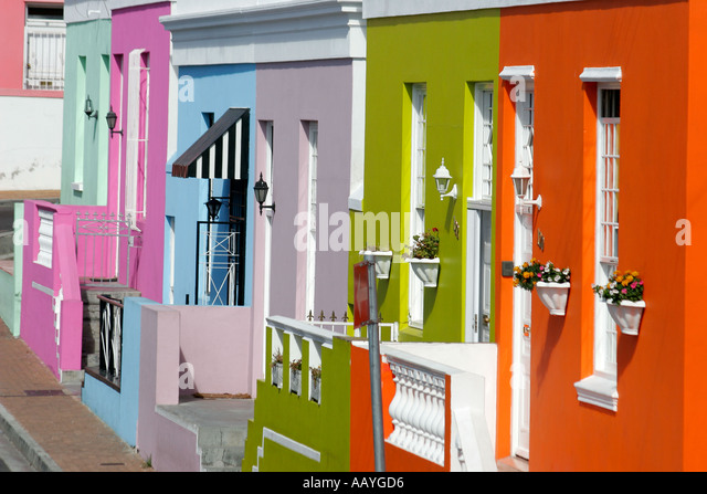 cape town Bo Kaap colorful facades in area of cape muslims  - Stock Image