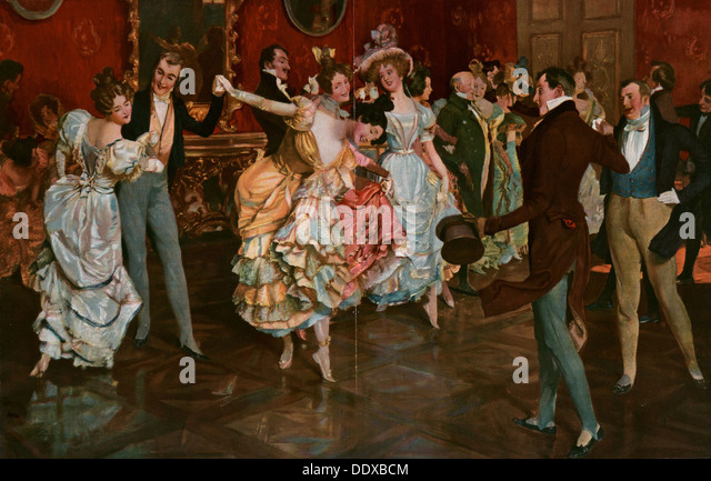 Dance painting by Leopold Schmutzler 1864-1941, bohemian painter, lived in Germany. dancing, dancer, young, motion, - Stock Image