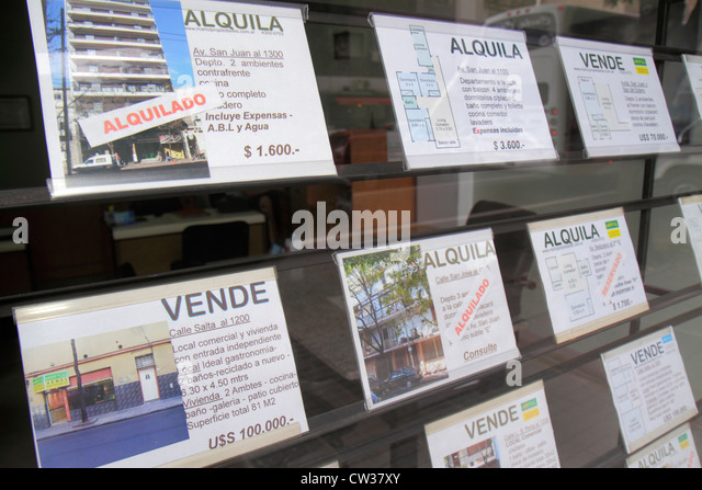 Buenos Aires Argentina Avenida Independencia real estate office listings for sale for rent housing apartments price - Stock Image