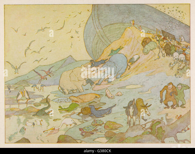 NOAH'S ARK - The animals are glad to on  terra firma once more - Stock Image