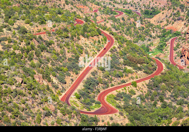 Curvy road in Zion National Park, Utah, USA. - Stock Image