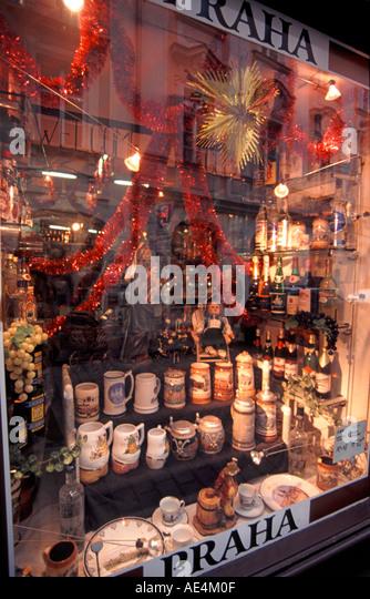 Czech Republic Prague delicatessen souvenir shop - Stock Image