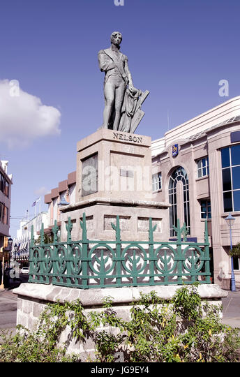 Admiral Lord Horatio Nelson bronze statue in Heroes Square Bridgetown Barbados. - Stock Image