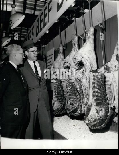 Jun. 16, 1964 - 16-6-64 American beef on show at Smithfield. A cargo of 46 quarters of United States chilled beef - Stock Image