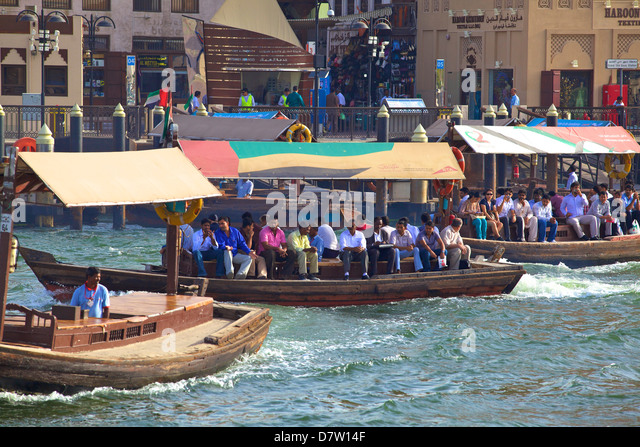 Ferries on Dubai Creek, Dubai, United Arab Emirates, Middle East - Stock Image