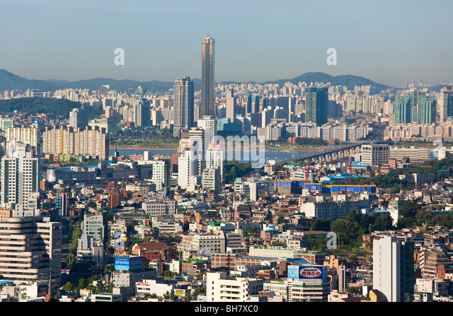 Skyline in Seoul South Korea - Stock Image