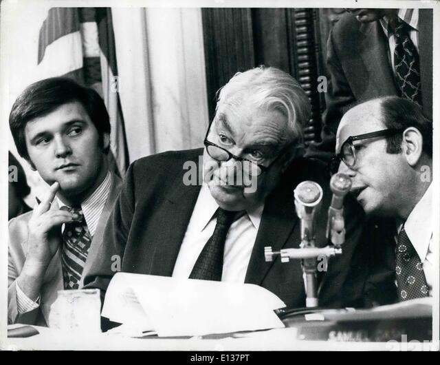 Feb. 29, 2012 - Sen. Sam Ervin and Committee Lawyer Sam Dass. - Stock Image
