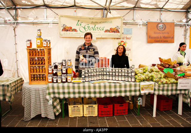 Jams,honey  stall at a traveling market in Jesi  Le Marche Italy - Stock Image