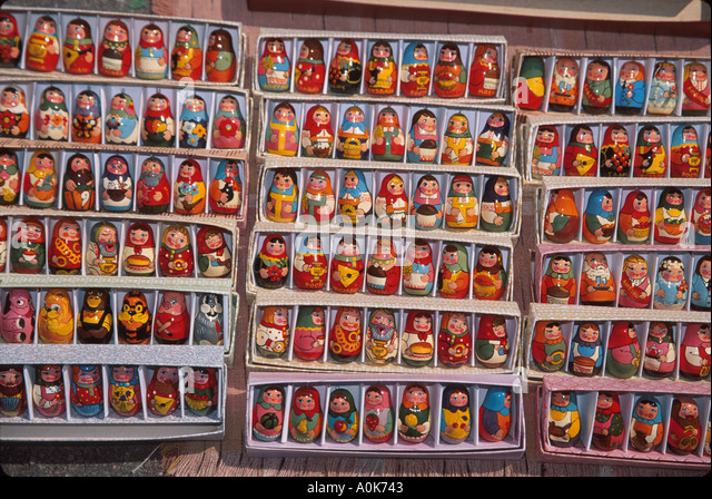 Russia former Soviet Union Kostroma souvenir miniature dolls - Stock Image