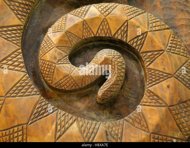 Wooden snake carving stock photos
