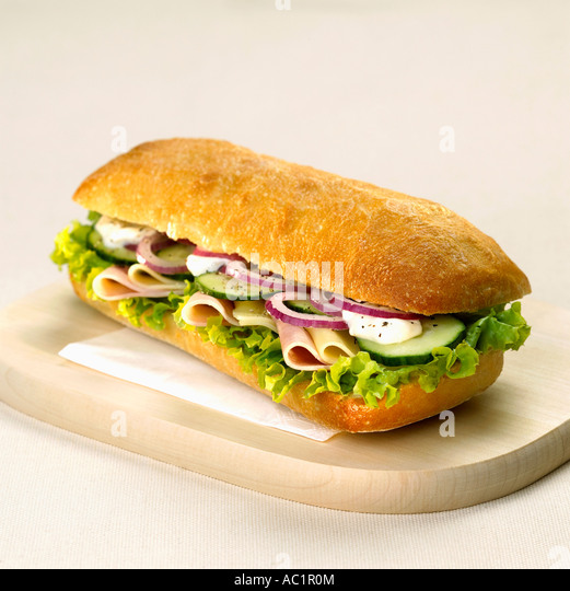 Sandwich with cheese and ham - Stock Image
