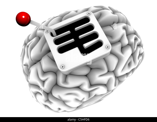 Brain with gearstick, computer artwork - Stock Image