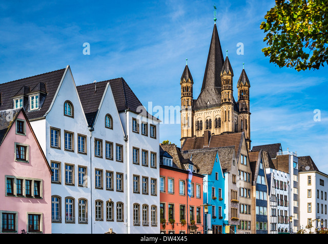 Cologne, Germany cityscape over the Rhine River. - Stock-Bilder