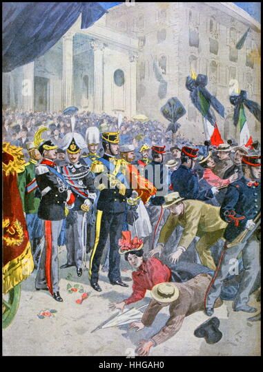 Illustration showing ta stampede due to panic at the funeral in Rome, of King Umberto I of Italy. - Stock Image