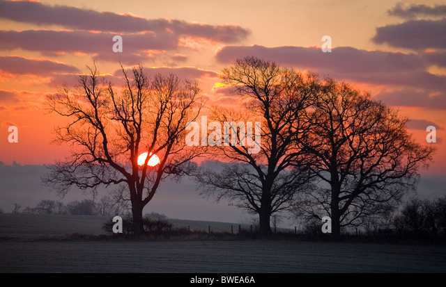 Winter sun rises from misty Rother valley over wooded hills in red sky with purple gilded clouds near Sandhurst - Stock Image