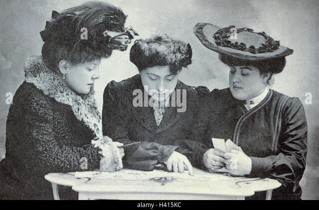 Nostalgia, women, three, postcards, write, select, b/w, outside, nostalgically, past, greeting, postcards, greet - Stock Image