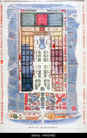 Illustration showing a plan of the exhibition area at the Champs du Mars, Paris for the Exposition Universelle of - Stock Image