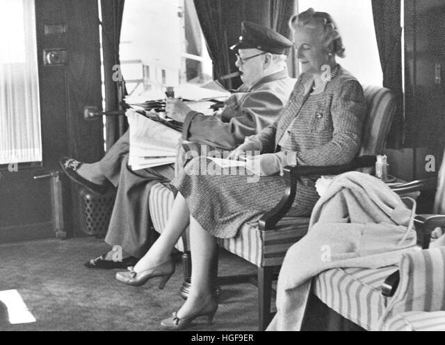 Winston and Clementine Churchill  in the saloon of his special train in Canada  August 1943 - Stock Image