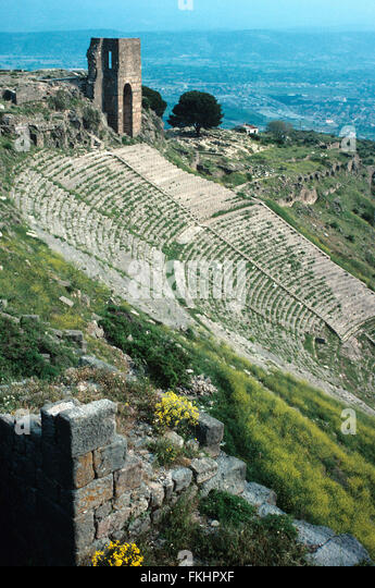 Antique Greek or Hellenistic Theatre or Theater at Pergamon or Pergamum, present-day Bergama, Turkey - Stock Image