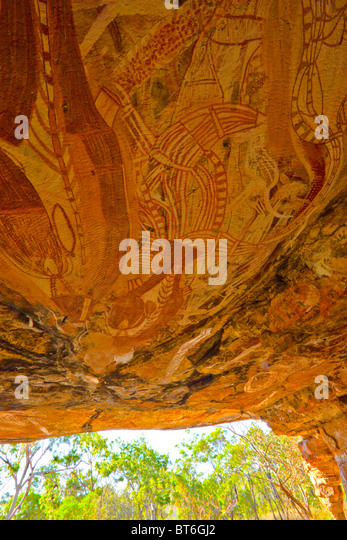 Rock art at the Cathedral, Northern Territory, Australia, Jawoyn Land, Ancient Aboriginal rock paintings - Stock Image