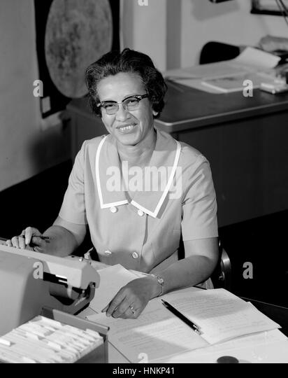NASA research mathematician Katherine Johnson is photographed at her desk at Langley Research Center in 1966. - Stock Image