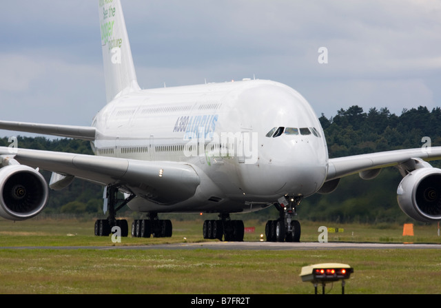 Airbus A380 taxiing on runway at Farnborough International Airshow 2008 UK - Stock Image