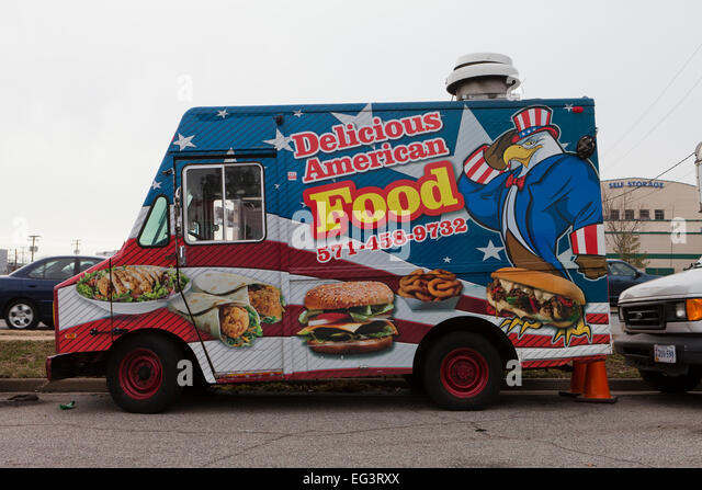 American food food truck - USA - Stock Image