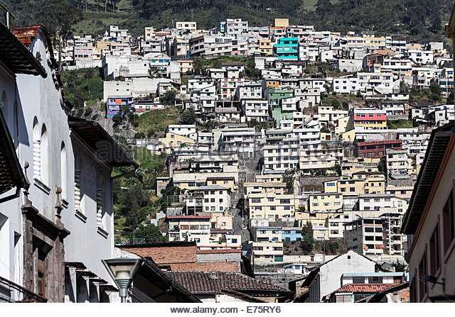 Suburb built on the slopes of Quito, Ecuador - Stock Image