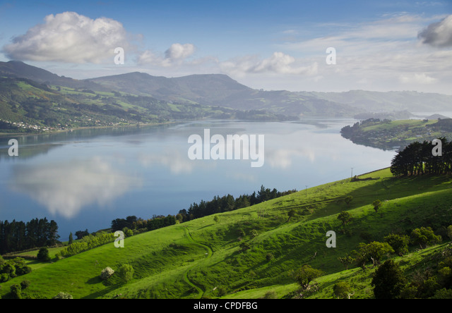 Otago Harbour, Otago Peninsula, Otago, South Island, New Zealand, Pacific - Stock Image