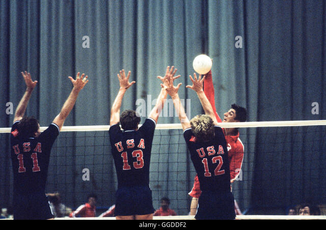 USA men's 1984 Olympic volleyball team in action at Long Beach Arena - Stock Image