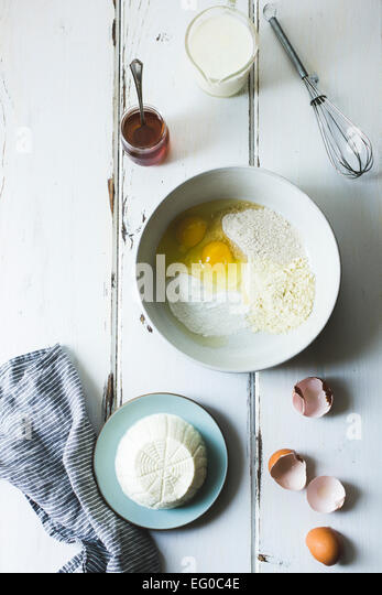 Ricotta crepe ingredients - Stock Image