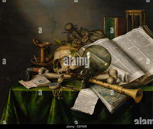 Vanitas. Still Life with Books, Manuscripts and a Skull. Artist: Collier, Edward (active 1662-1708) - Stock Image