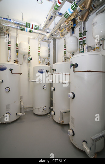 Modern water heating installation for large hotel or office complex - Stock Image