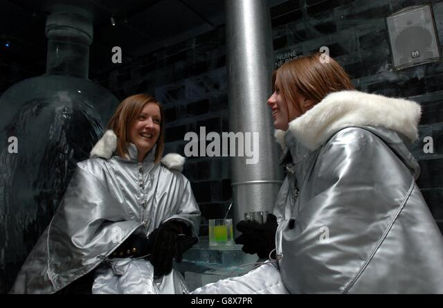 Susannah Cooke (L) and Rebecca Galley from London enjoy a drink at a photocall celebrating the launch on October - Stock Image
