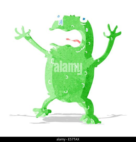 cartoon frightened frog - Stock-Bilder