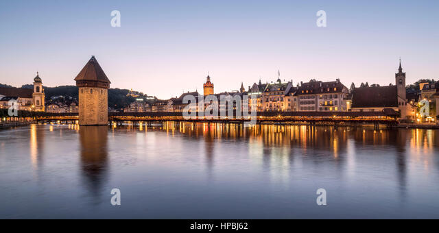 Chapel bridge Panorama Lucerne Switzerland - Stock Image