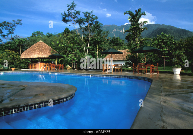 Honduras Swimming Pool Lodge at Pico Bonito Central America - Stock Image