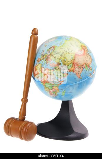 Globe and Gavel - Stock Image