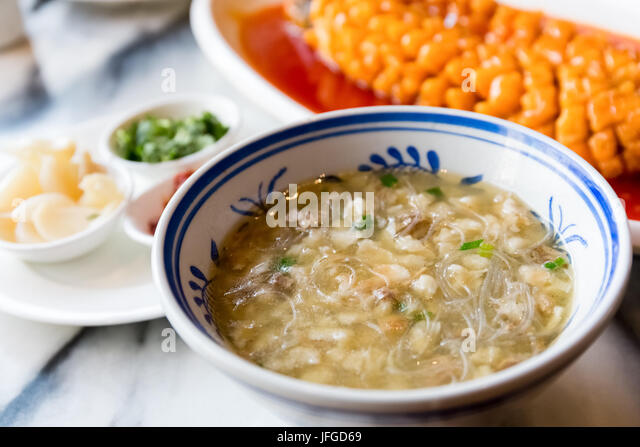 mutton bread in the soup - Stock Image