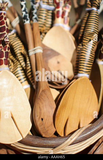 Florida, wooden spoons for sale, bowls, cooking utensils, arts and crafts, - Stock Image